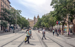 Shoping street of zaragoza Royalty Free Stock Photography