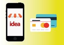 Shoping Vektoron-line-ikone Lizenzfreies Stockbild
