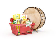 Shopingbasket and ramadan drum Royalty Free Stock Photography