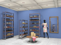Shopinnere voll Abbildung 3D Lizenzfreies Stockbild