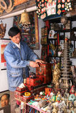 The shopkeeper in the collection market,chengdu,china Stock Photo