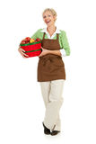 Shopkeeper: Holding a Basket of Apples Stock Photography