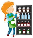 Shopkeeper looking at products on shelves. Illustration Royalty Free Stock Image