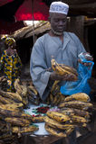 Shopkeeper selling plantain in Bamako Stock Image