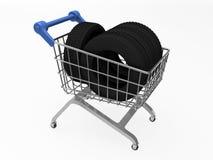 Shopkorb mit Reifen Stockfotos