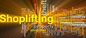 Shoplifting background concept glowing. Background concept wordcloud illustration of shoplifting glowing light Stock Images