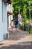 Shoplot längs den Malacca floden Royaltyfri Bild