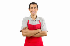 Shopman smiling Stock Photo