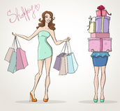 Shopoholic shopping girls fashion sale. Shopping girls fashion sale cartoon vector illustration Royalty Free Stock Photography