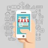 Shoppa begreppsmässig plan stil för online-affär Arkivfoton