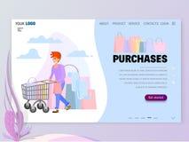 Shoppa begreppsplats med teckenhomepage-mallen för website eller landningsida vektor illustrationer