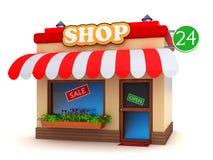 Shoppa byggnad royaltyfri illustrationer