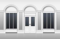 Shoppa byggnad med exponeringsglas ställer ut, stängde dörren royaltyfri illustrationer