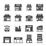 Shoppa byggnadssymbolsuppsättningen Arkivfoto