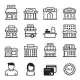 Shoppa byggnadssymbolsuppsättningen Royaltyfria Bilder