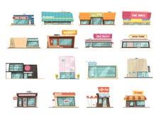Shoppa byggnadsuppsättningen vektor illustrationer