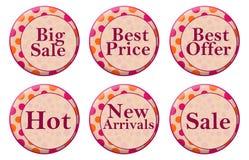Shoppa cirklar för ordpersikarosa färger stock illustrationer