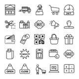 Shoppa den symbol inställda för symbolsymbol för vektor svarta linjära shoppa uppsättningen vektor illustrationer