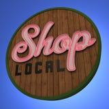 Shoppa det lokala neontecknet Royaltyfri Foto