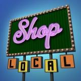 Shoppa det lokala neontecknet Arkivfoton