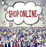 Shoppa det online-begreppet för konsumentleveranskunden Arkivfoton