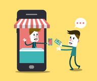 Shoppa det online-- online-lagret på den smarta telefonen Affär och digitalt marknadsföringsbegrepp Arkivfoton