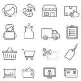 Shoppa, detaljhandel och online-e-kommers linje symbolsuppsättning vektor illustrationer