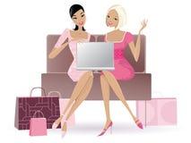 Shoppa direktanslutet royaltyfri illustrationer