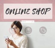 Shoppa direktanslutet begreppet för lagret för köpinternetshopping Fotografering för Bildbyråer