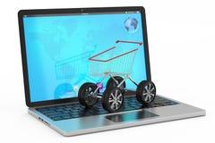 Shoppa direktanslutet begreppet, köpa direktanslutet Royaltyfri Bild