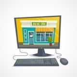 Shoppa direktanslutet begreppet med datoren shoppar byggnad, datormusen och tangentbordet, vektortecknad filmillustration Arkivfoto