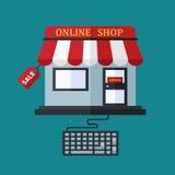 Shoppa direktanslutet försäljningsbegreppet Royaltyfri Foto