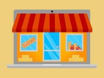 Shoppa direktanslutet från din anteckningsbok, ställa ut, lagerframdelen, illustration Arkivbild
