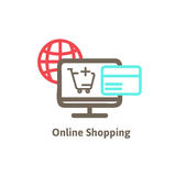 Shoppa direktanslutet med symbolsvektorn stock illustrationer