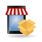 Shoppa direktanslutet och smartphonedesign, vektorillustration Arkivfoto