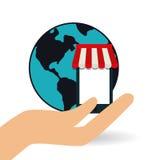 Shoppa direktanslutet och smartphonedesign, vektorillustration Arkivbild