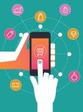 Shoppa direktanslutet på den smarta telefonen, Fotografering för Bildbyråer