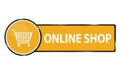 Shoppa direktanslutet rengöringsdukknappen med shoppingvagnen - vektorillustrationen som isoleras på vit Arkivbild