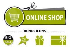 Shoppa direktanslutet rengöringsdukknappen med symboler för shoppingvagnen och bonus- vektorklistermärkeillustration med Scissor  Arkivbild