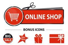 Shoppa direktanslutet rengöringsdukknappen med symboler för shoppingvagnen och bonus- vektorklistermärkeillustrationen med Scisso Arkivbild