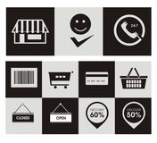 Shoppa direktanslutet symboler Royaltyfri Illustrationer