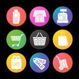 Shoppa färgsymbolsuppsättningen Kassaapparat påse, etiketter, korg på hjul, lager, gåvaask Smart klockauistil Royaltyfri Foto