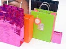 shoppa för 3 påsar Arkivfoto