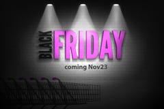 Shoppa för den svarta banret för vektorn fredag för rabatter försäljningen det rosa i strålkastare arkivbild