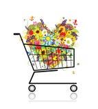 shoppa för hjärta för vagnsdesign som blom- är ditt stock illustrationer