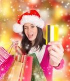 Shoppa för jul. Arkivfoto