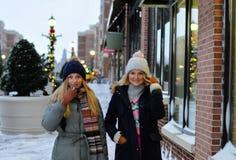shoppa för jul Härliga kvinnor som gör shopping på galleria fotografering för bildbyråer
