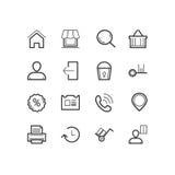 shoppa för symboler Shopping- och kommerssymboler Arkivbilder