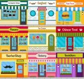 Shoppa fasader och restaurangframdeluppsättningen vektor illustrationer