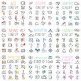 Shoppa finans, affär, kommunikationer, bröllop, symboler för vektor för översikt för uppsättning för navigeringinternetwebsite me stock illustrationer